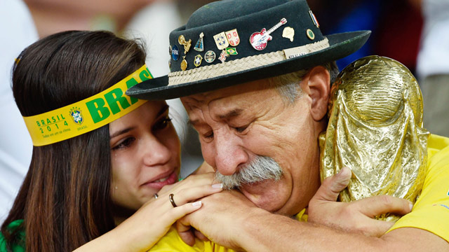 Brazil fans cry after 7-1 defeat to Germany